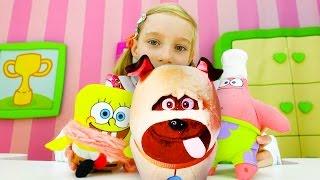 Тайная жизнь животных и Губка БОБ. Видео про Катю и Игрушки из мультфильма. Игры для детей больница