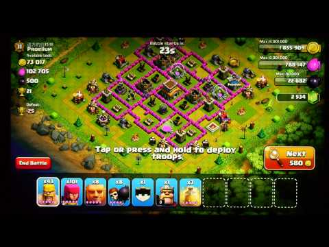 TH8 dark elixir army looting strategy clash of clans