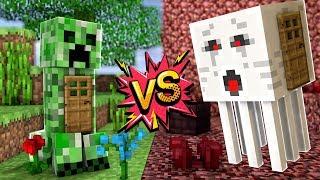 CREEPER EVİNİN İÇİNDE YAŞAMAK VS GHAST EVİNİN İÇİNDE YAŞAMAK (Minecraft)
