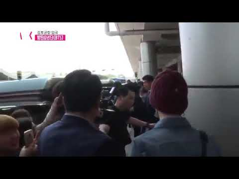 JIMIN TRIPPED BECAUSE ITS TO CROWDED at Gimpo airport