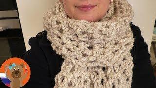 Простой шарф с узором в сеточку | Вязание крючком | На переходную погоду