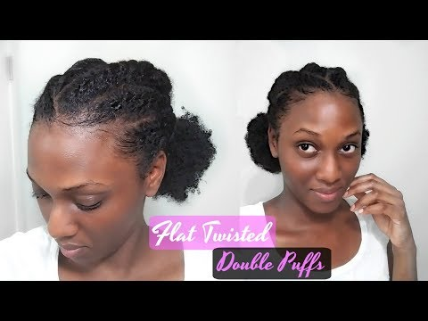 easy-flat-twisted-double-puffs-laid-edges-hairstyle-|-protective-style-on-short-natural-hair