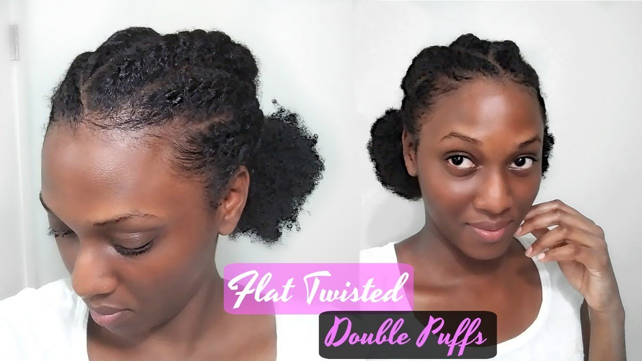 Easy Flat Twisted DOUBLE PUFFS + LAID EDGES Hairstyle ...