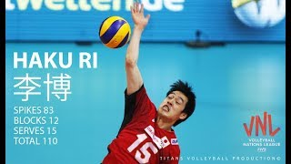 TOP 10 Best Volleyball Actions by HAKU RI 李博 VNL 2018