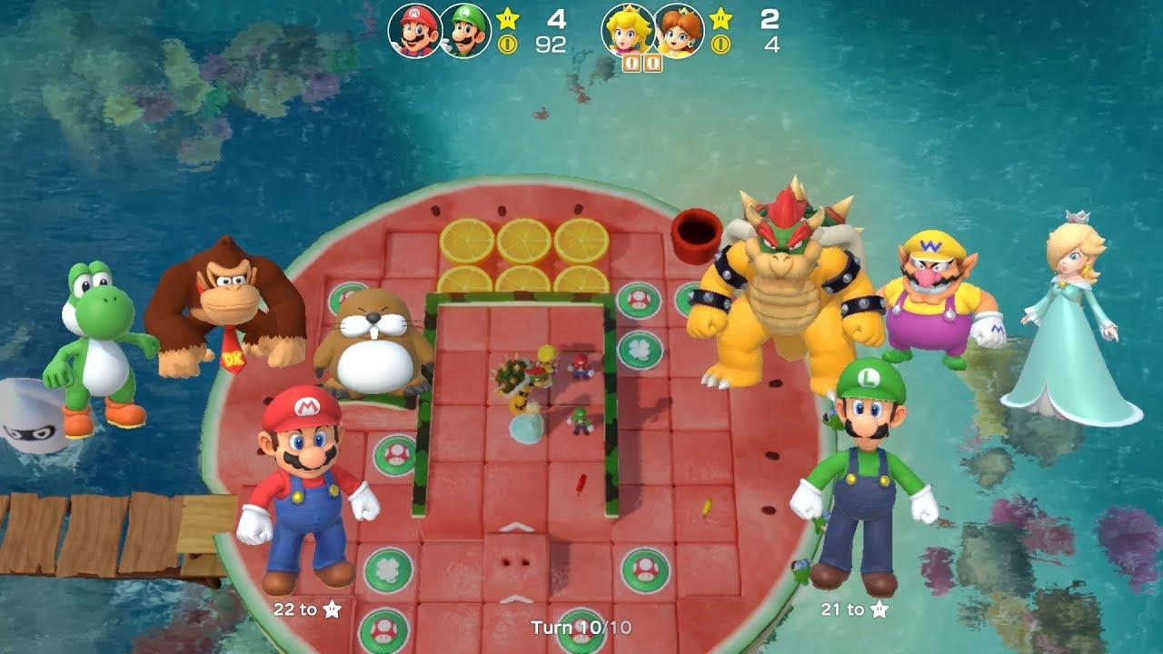 Super Mario Party Partner Party #175 Watermelon Walkabout Mario & Luigi vs Peach & Daisy