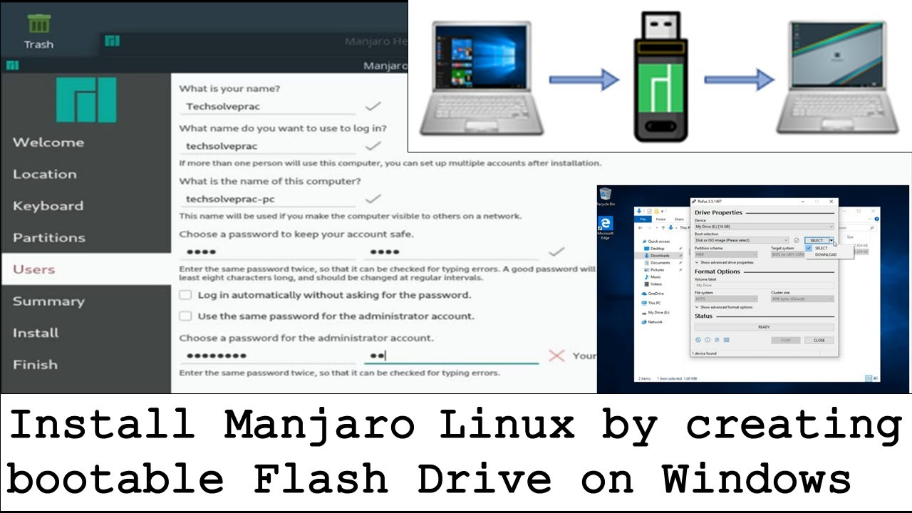 Install Manjaro Linux by creating Flash Drive on Windows
