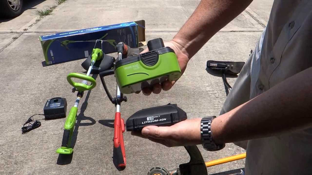 Comparison Of My Cordless Battery Ed String Trimmers 18v To Gas Weedeater Ryobi You