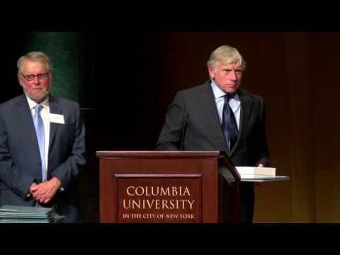 Columbia University President Lee Bollinger awards the 2016 Pulitzer Prizes