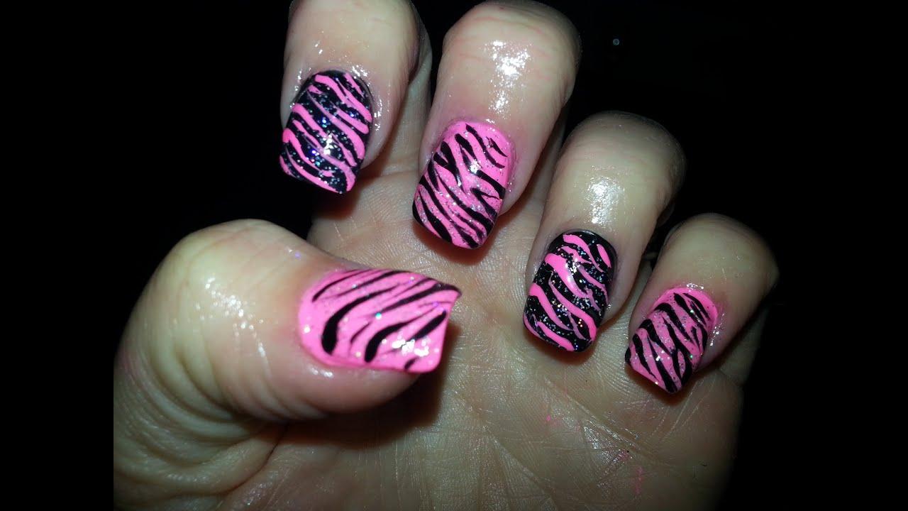 Nail Designs Pink Zebra : Pink black zebra print nail art