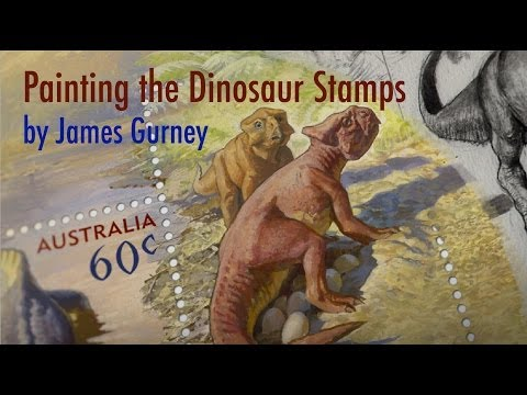 Painting the Dinosaur Stamps