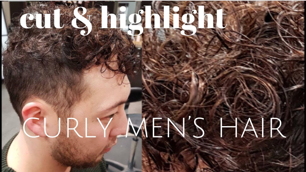 Cut And Highlight Curly Mens Hair Youtube