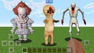 FINDING scp-096 vs scp-173 PENNYWISE CLOWN IT shy guy pocket edition secret base in minecraft pe