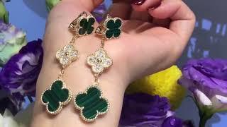 Long earrings 3 motifs in real gold
