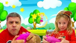 Nastya and dad created a new game for kids themselves