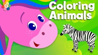 Zoo Animals | Coloring and Music | Rainbow Horse | BabyFirst TV