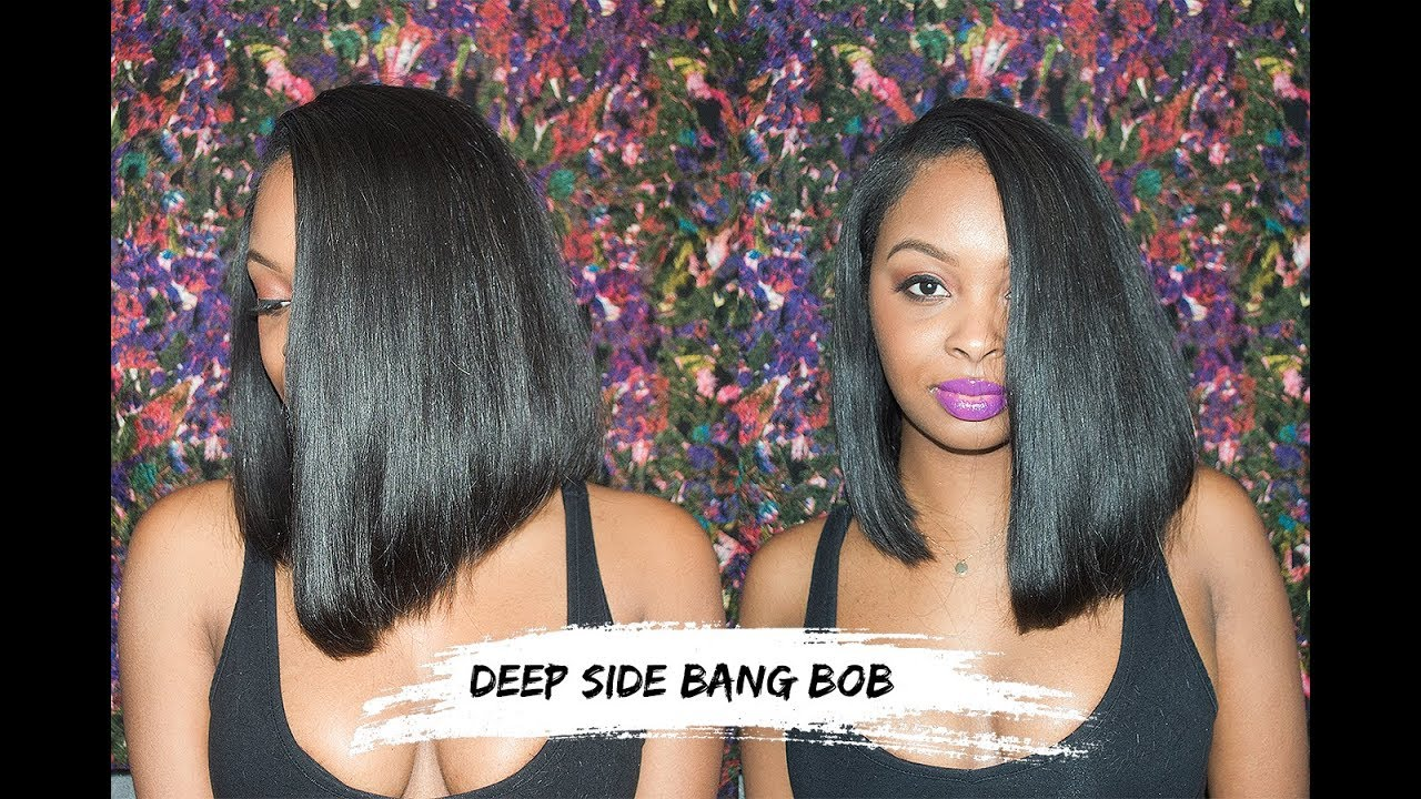 How To Cut A Bob With A Deep Side Part Youtube