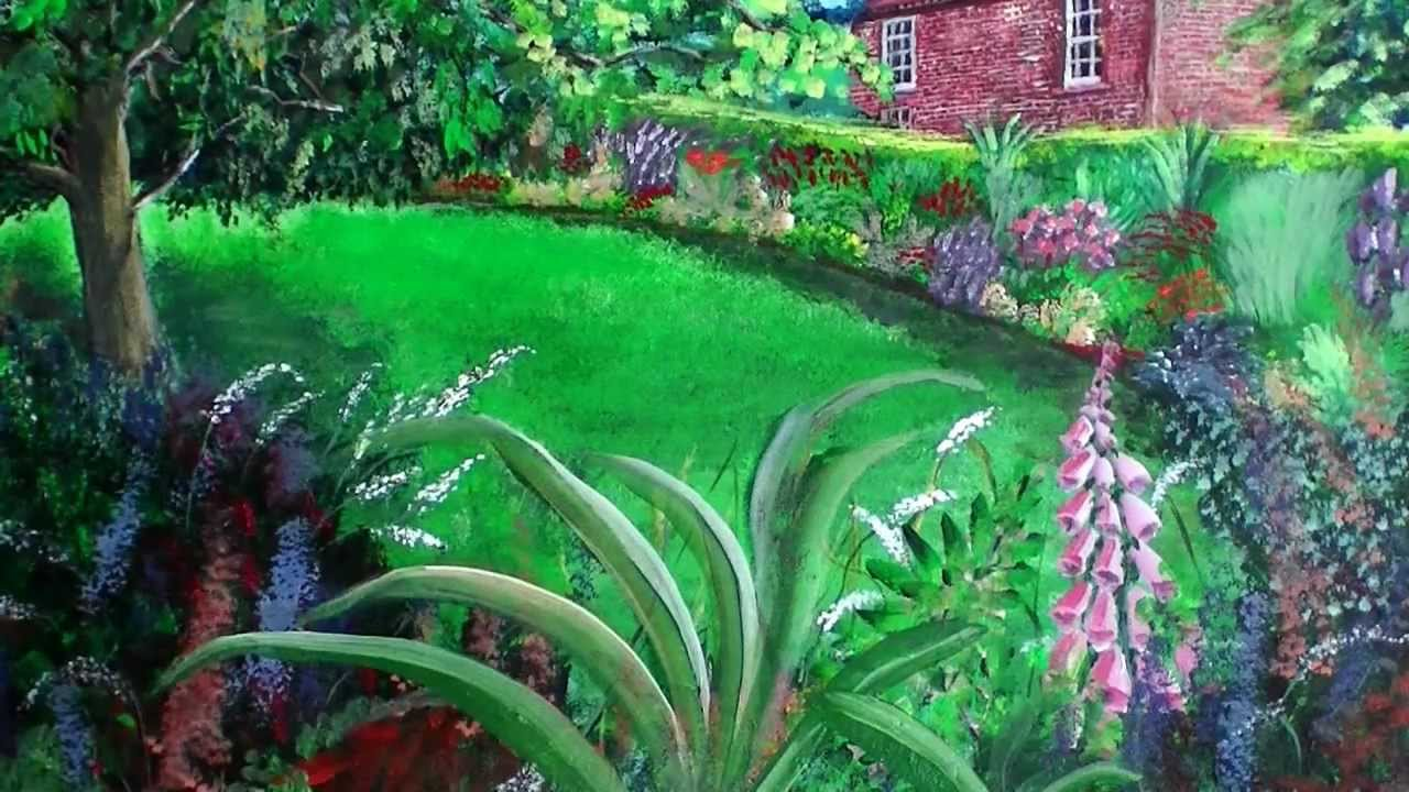 the garden cottage colourful acrylic painting of peckover house cottage garden by steve buchanan youtube - Simple Flower Garden Paintings