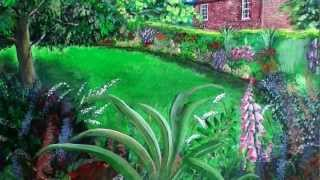 The Garden Cottage - Colourful Acrylic Painting Of Peckover House Cottage Garden By Steve Buchanan