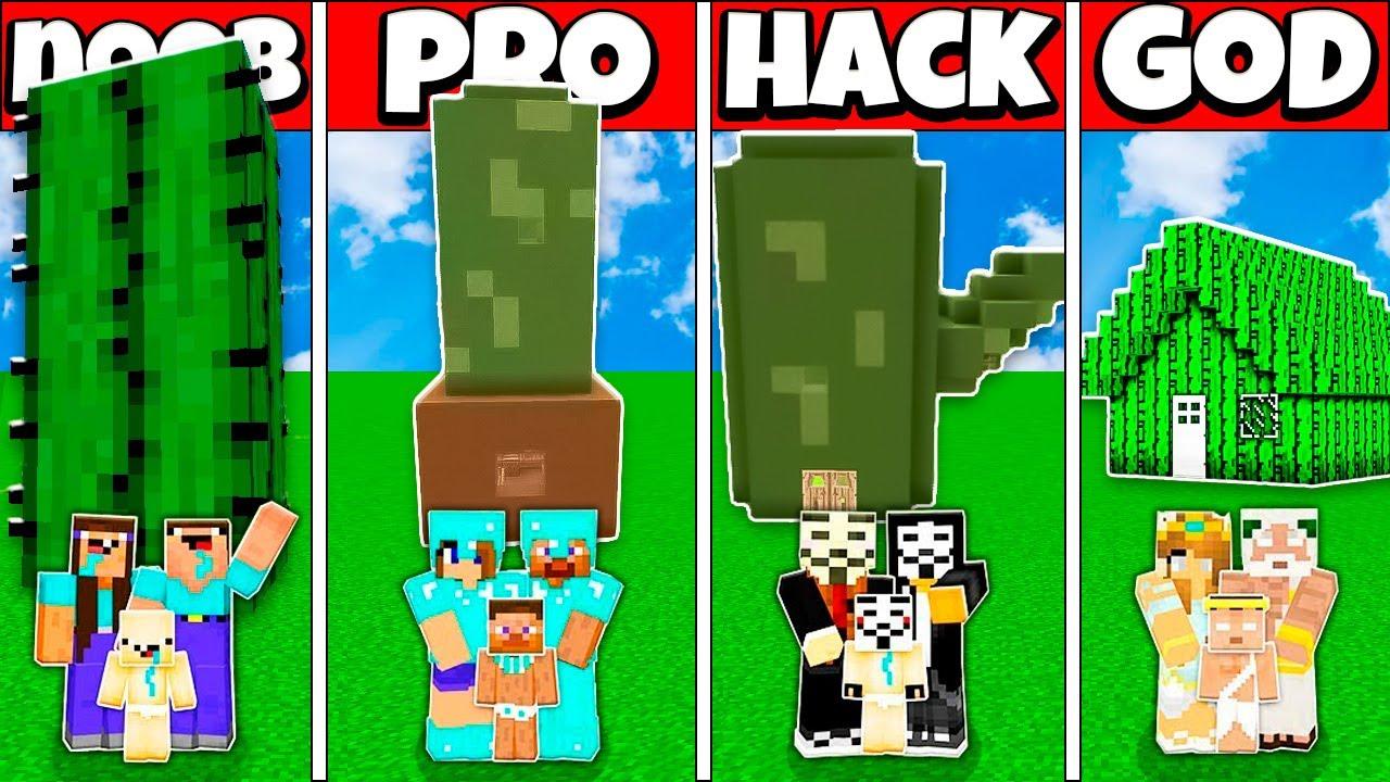 INSIDE CACTUS BASE HOUSE BUILD CHALLENGE - NOOB vs PRO vs HACKER vs GOD Minecraft Animation
