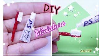 DIY Miniature Toothbrush and Toothpaste / Cách làm tuýp kem đánh răng và bàn chải / Ami DIY