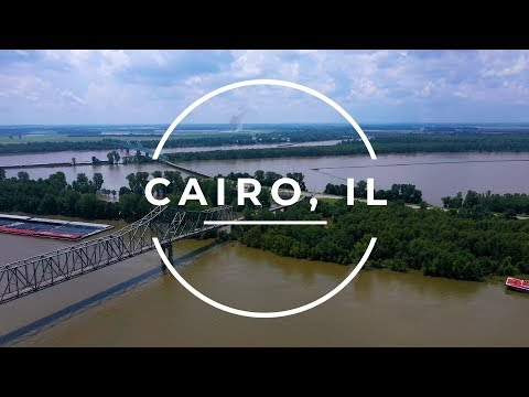Cairo, Illinois - Where Two Rivers Meet - 4K Drone footage
