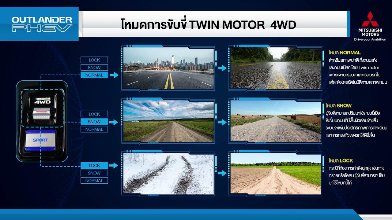 การใช้ฟังก์ชัน TWIN MOTOR 4 Wheel Drive เพื่อปรับโหมดการขับขี่ รถยนต์ Outlander PHEV