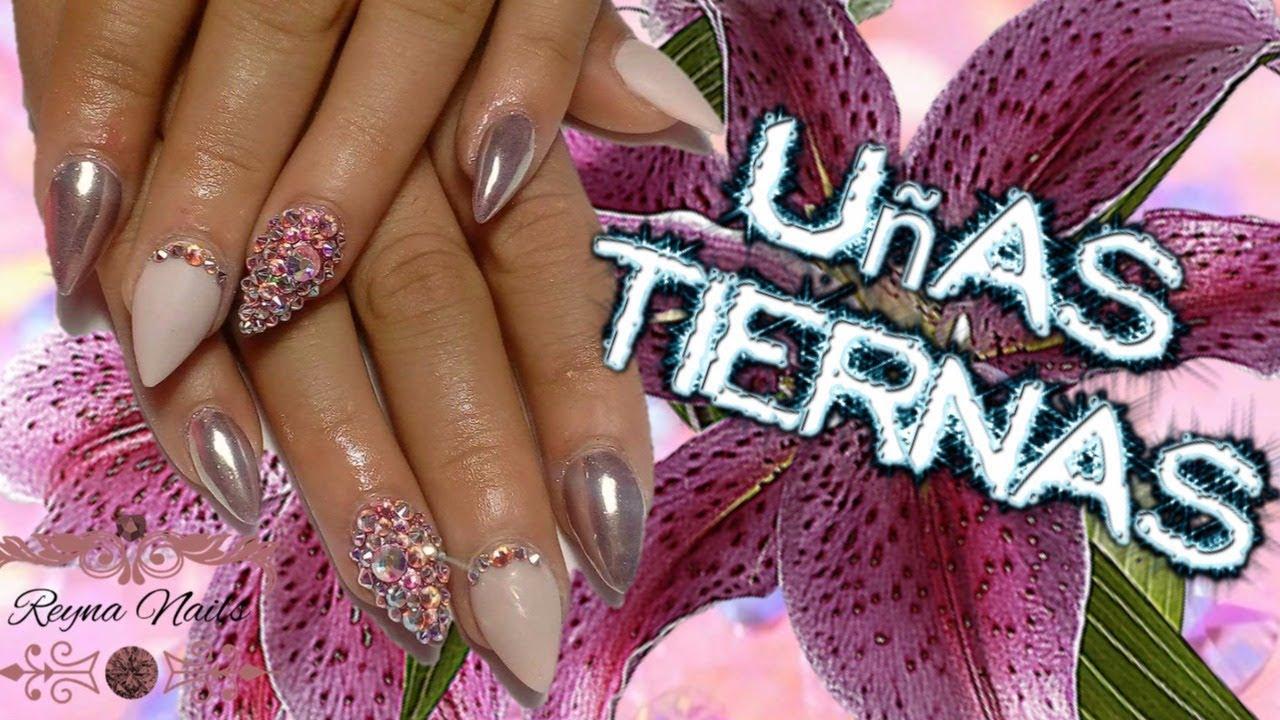 ♥♥Uñas tiernas/Efecto espejo/punta stiletto/By Reyna Nails ...