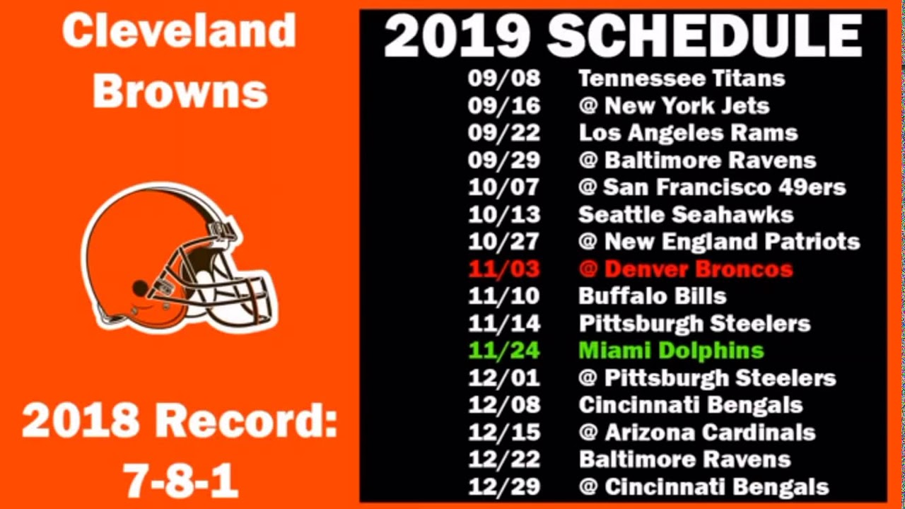 Denver Broncos Schedule 2020.Cleveland Browns 2019 2020 Schedule