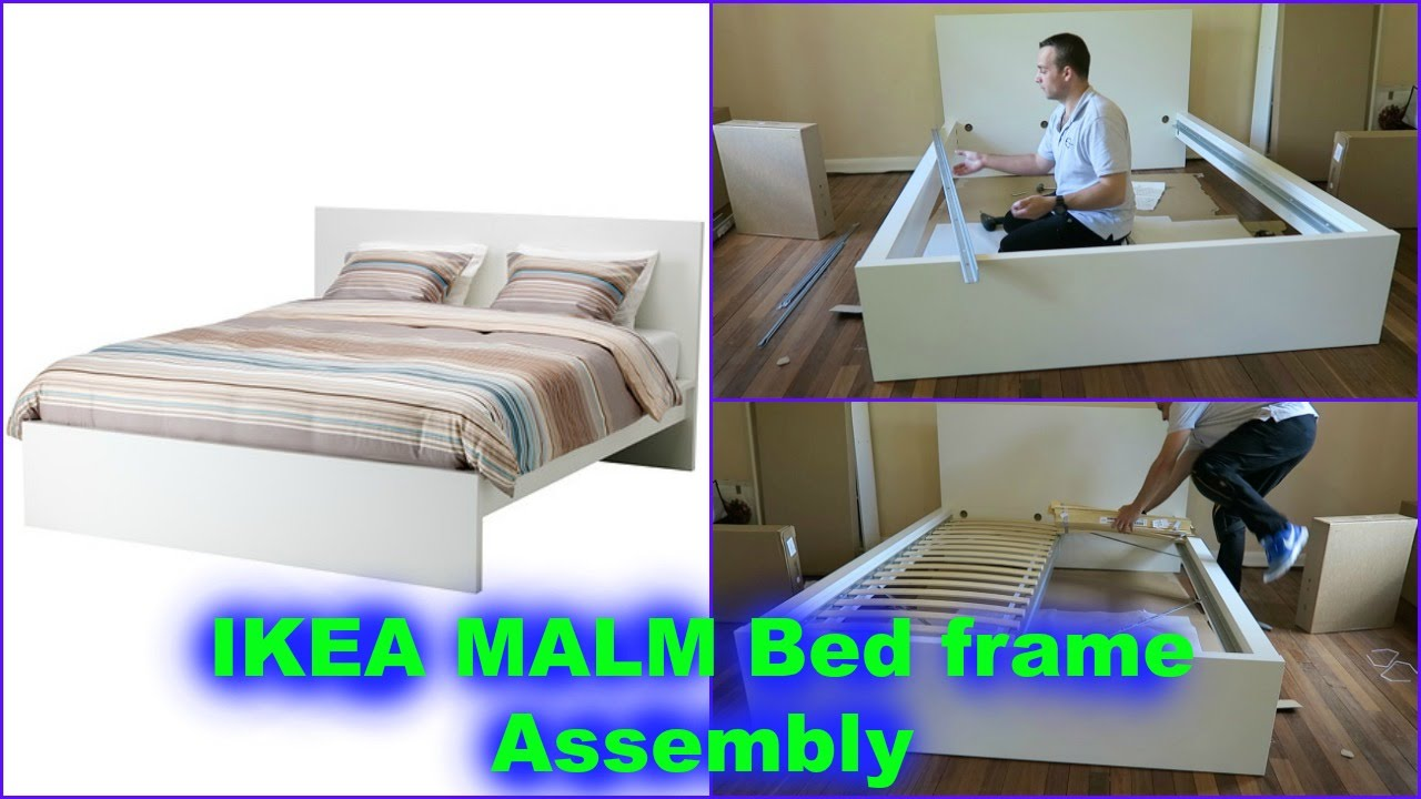 IKEA MALM double bed frame assembly - YouTube