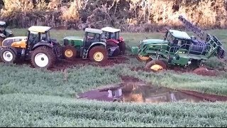 amazing tractor accident, extreme tractor stuck in deep mud, big track john deere stuck in