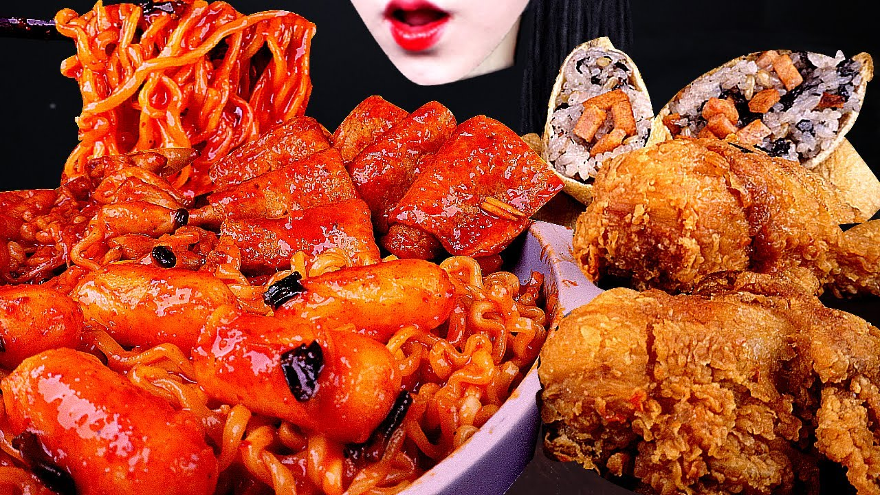 ASMR SPICY ENOKI MUSHROOM, 떡볶이 먹방, TTEOKBOKKI, 매운 버섯 먹방, FRIED CHICKEN, 치킨 먹방, 유부초밥 먹방 SUSHI MUKBANG