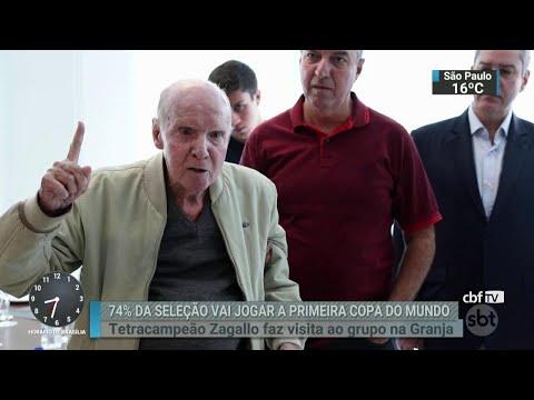 Seleção brasileira recebe a visita do ex-técnico Zagallo | SBT Brasil (24/05/18)