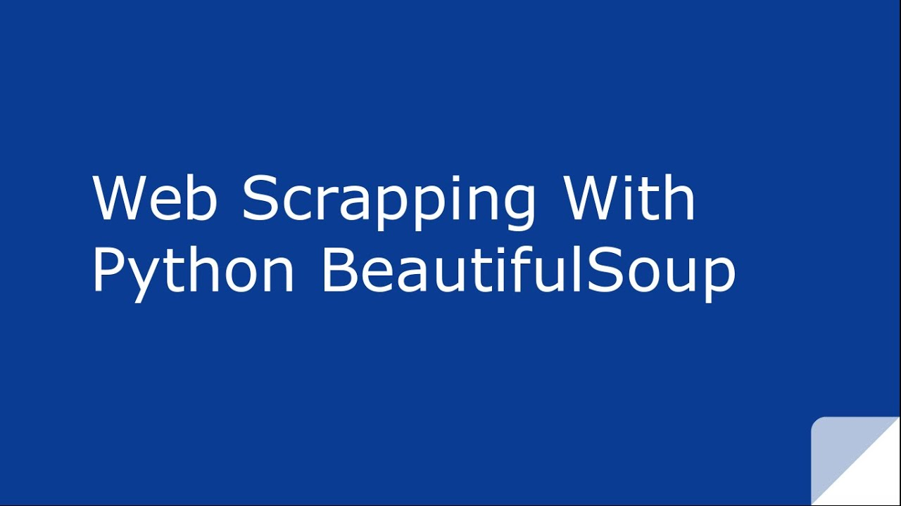 Web Scraping with python BeautifulSoup - YouTube