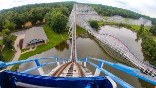 Great American Scream Machine Wooden Roller Coaster at Six Flags Over Georgia 4K POV
