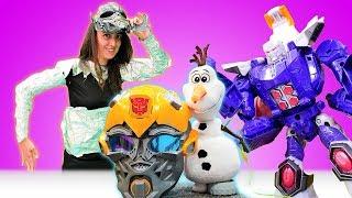 Komik video çocuklar için. Sevcan Olaf'ı Deseptikonlardan kurtarmak için robot oldu