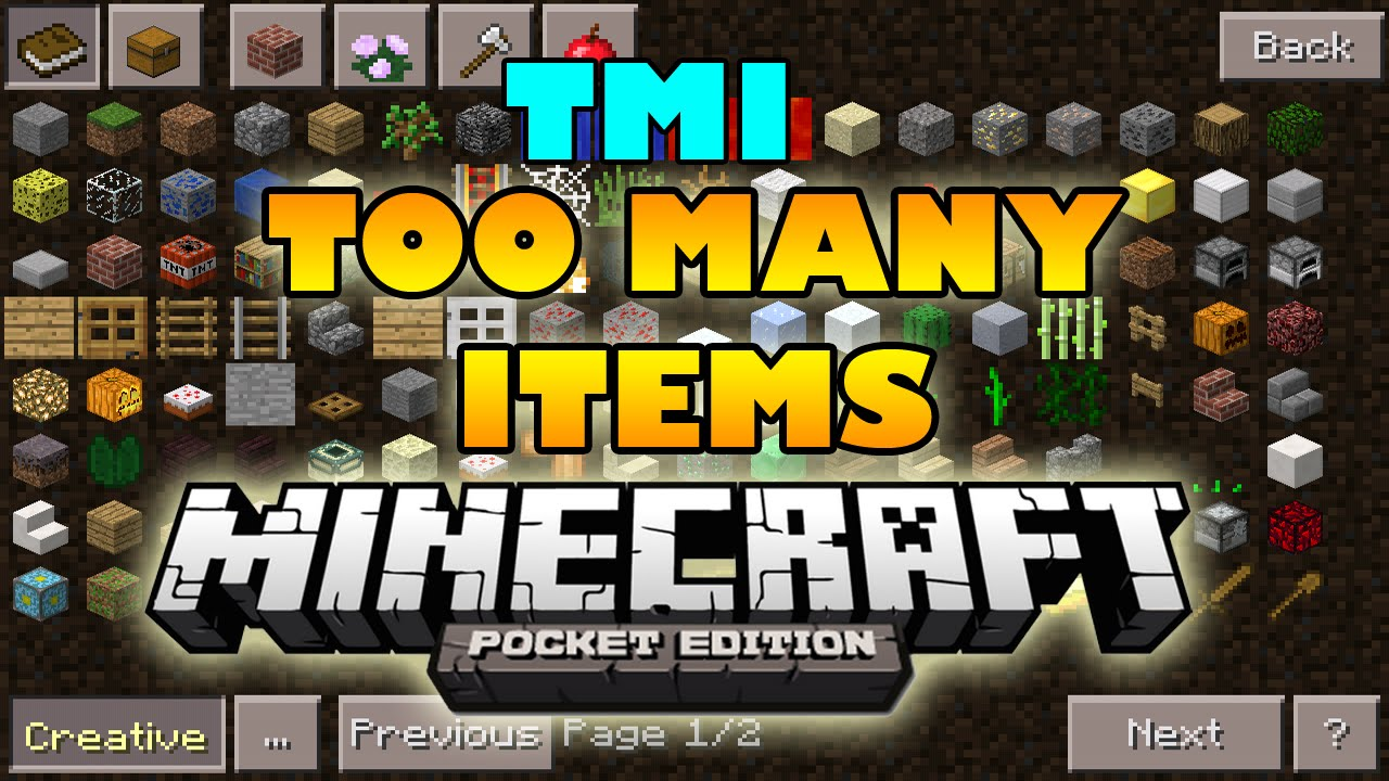 Too Many Items Mod 0.12.3, 0.13.0 | MineCraft PE - MCPE
