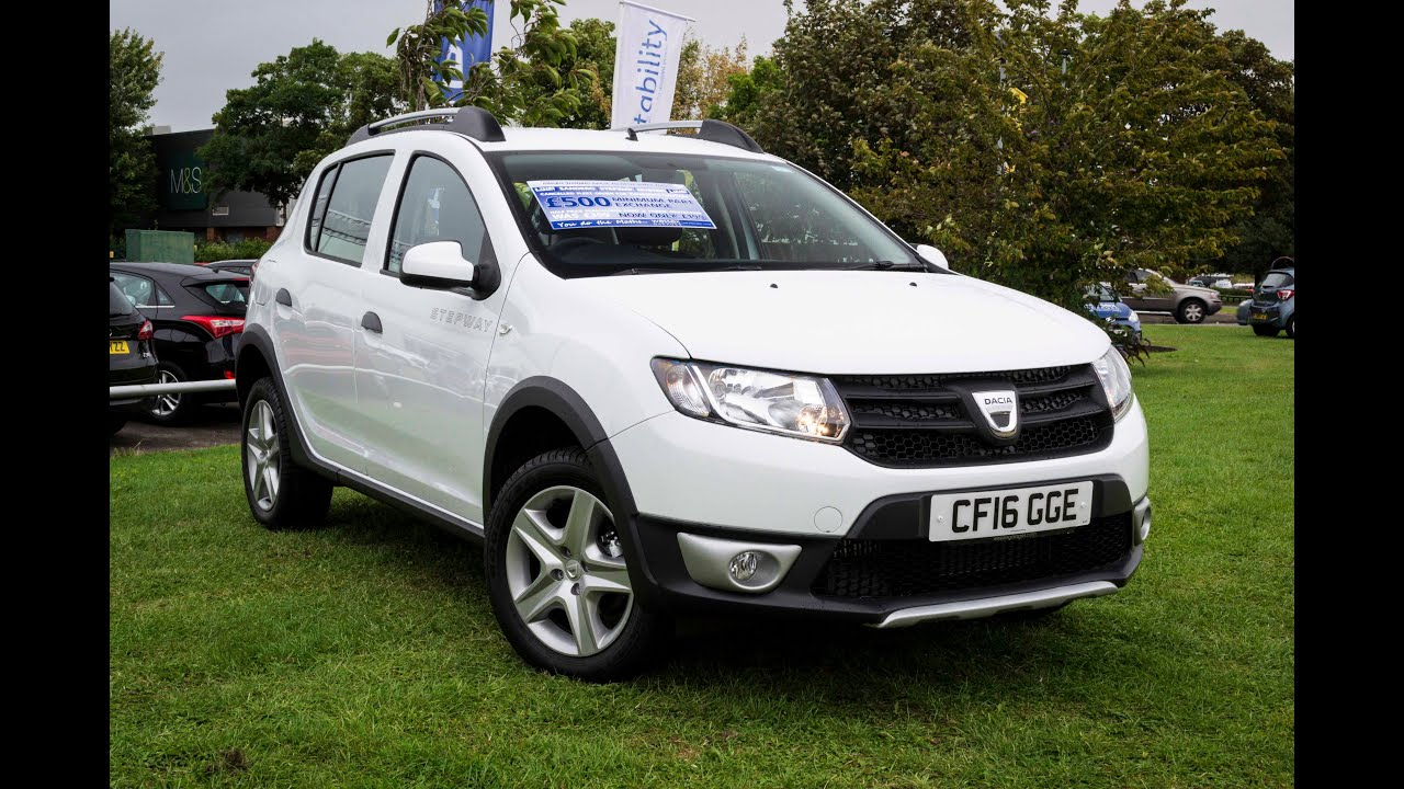 pre reg dacia sandero stepway 0 9 tce ambiance petrol manual cf16gge glacier white youtube. Black Bedroom Furniture Sets. Home Design Ideas