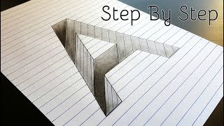 How to Draw A Hole in Line Paper | 3D Trick Art | Optical illusion