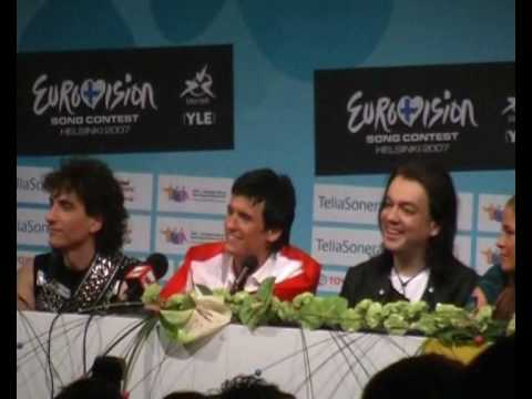 Press conference of semifinalists on the Eurovision 2007 in Helsinki.avi
