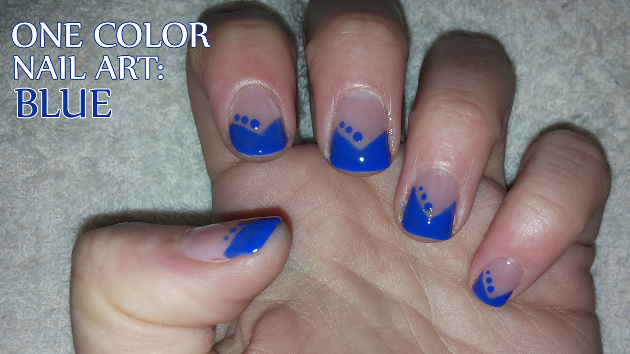 One color nail art blue youtube one color nail art blue prinsesfo Choice Image