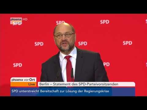 Martin Schulz zur möglichen Bereitschaft der SPD für Sondierungsgespräche am 24.11.17