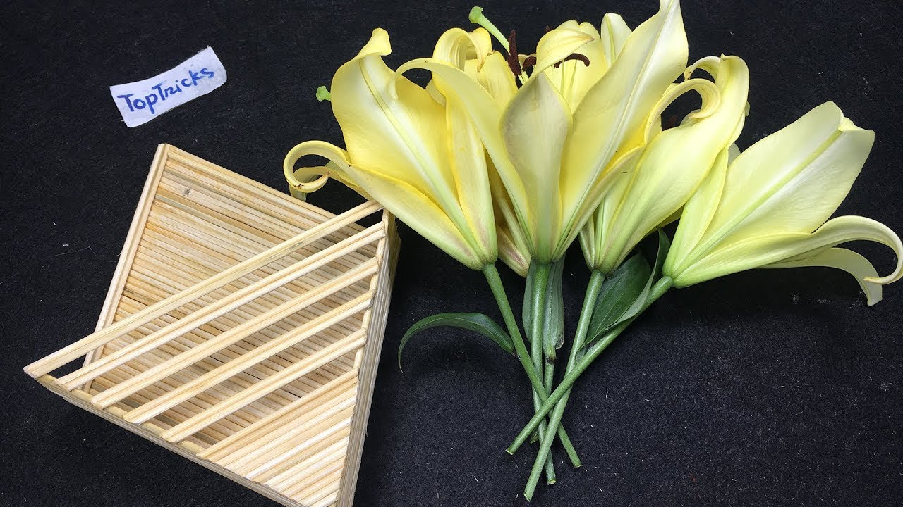 How to make Flower Basket with Bamboo Sticks | DIY Popsicle Stick ...