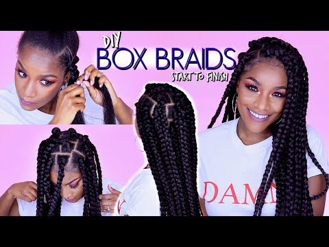 How to: BOX BRAIDS | Rubber Band Method | Won't Pull Your Hair Out!
