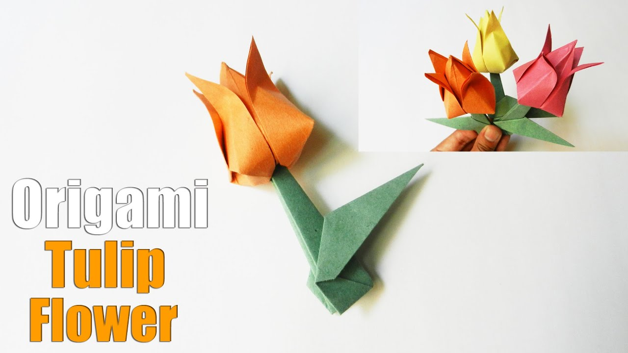 How To Make An Origami Tulip Flower Easy Paper Flower Tutorial