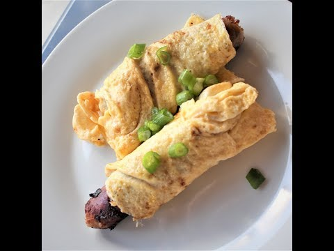 Sausage cheese egg roll up