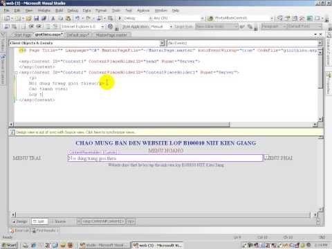 Bài 8: Video hướng dẫn lập trình website - Tạo MasterPage