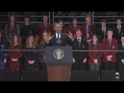 President Obama's Belfast Waterfront Hall speech in full: Michelle Obama introduces the President