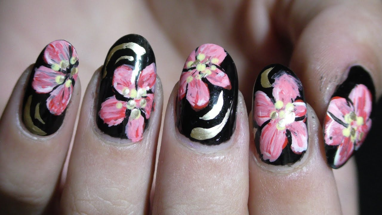 Black nails with beautiful flower.. Manichiura cu flori.. blumen ...