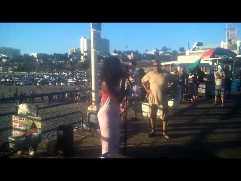 Lana singing at Santa Monica Pier to Madison from Madison Media Radio Pt.3