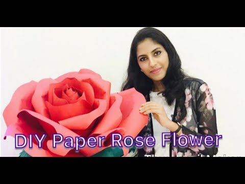 DIY Large Rose Flower (Giant Paper Flower) | Paper Flower Backdrop For Wedding/ Events | Red Rose